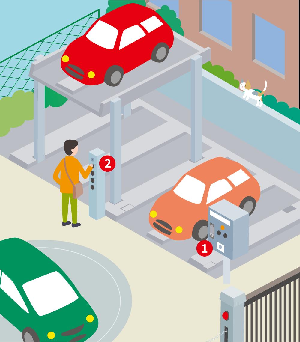 立体駐車場のイラスト